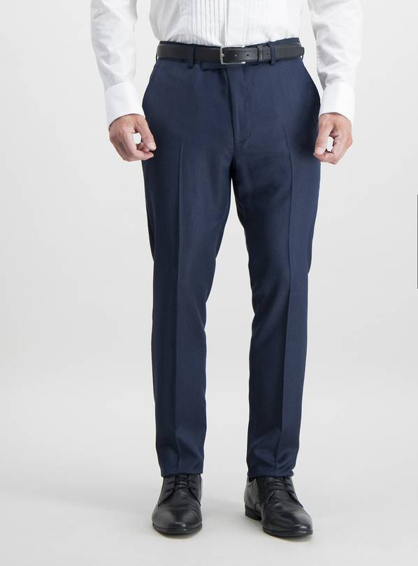 Online Exclusive Navy Skinny Fit Tuxedo Trousers - W34 L31