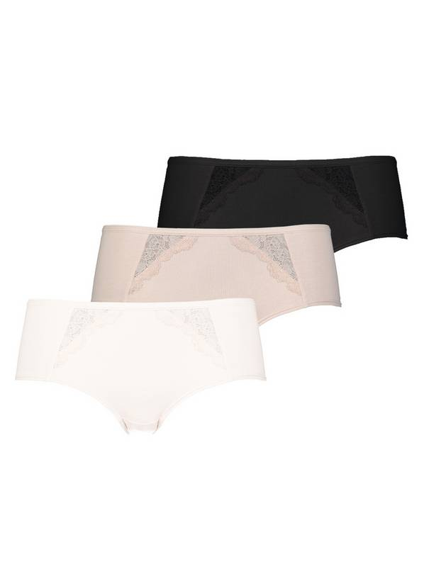 Multicoloured Knicker Shorts With Lace 3 Pack - 18