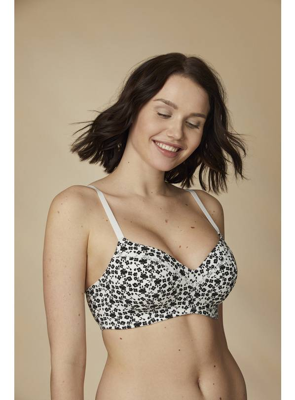 Grey & Ditsy Cotton-Rich Non Wired T-Shirt Bra 2 Pack - 32A