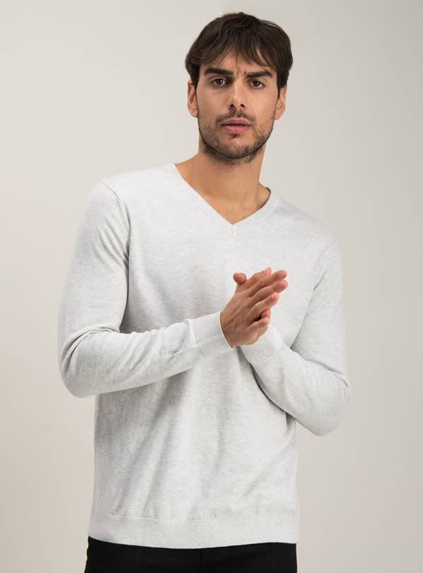 Light Grey Marl V-Neck Jumper - M