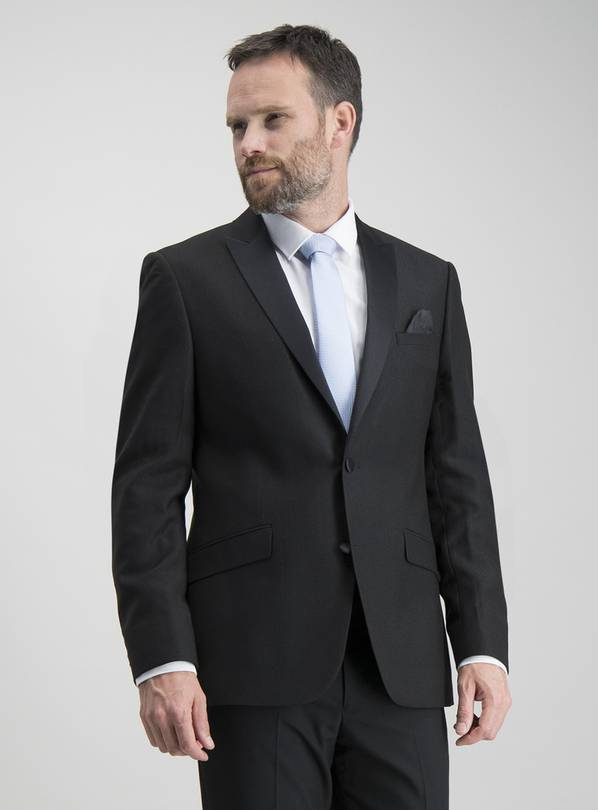 Black Textured Slim Fit Tuxedo Dinner Jacket With Stretch -