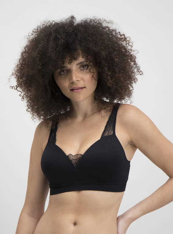 Black Seamless Stretch Comfort Plunge Bra - XXL