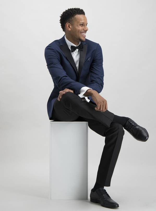 Online Exclusive Navy Skinny Fit Tuxedo Jacket - 54L