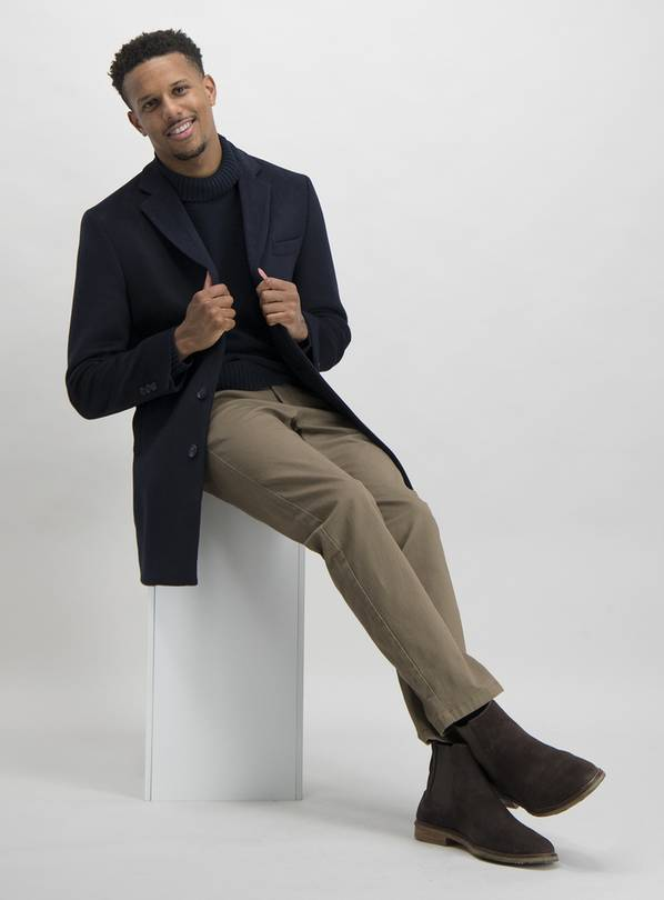Navy Tailored Fit Overcoat With Wool - S