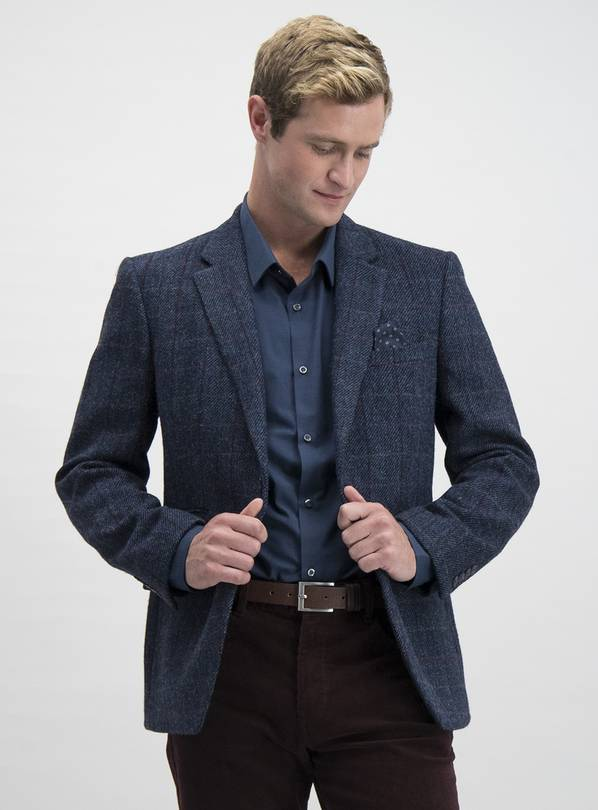 HARRIS TWEED Navy Tailored Fit Wool Jacket - 54L
