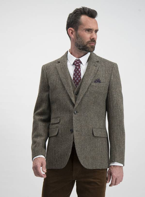 Brown Tailored Fit Jacket - 40L