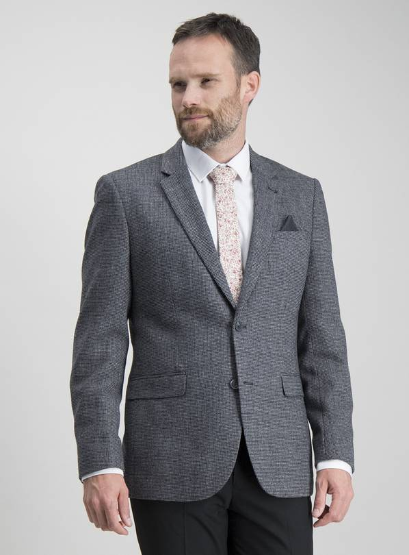 Charcoal Textured Slim Fit Wool Blend Jacket - 52R