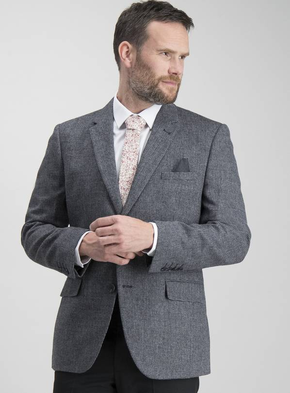 Charcoal Textured Tailored Fit Wool Blend Jacket - 46L