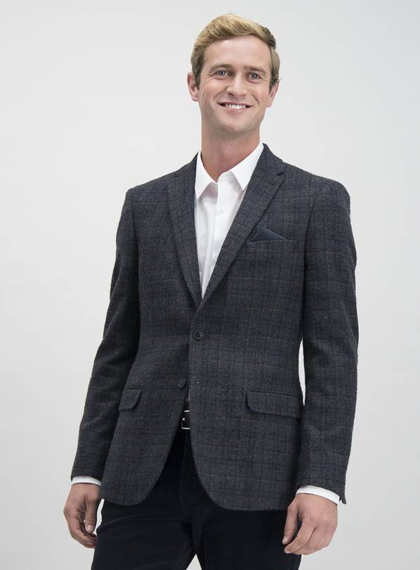 Grey Check Wool Blend Slim Fit Suit Jacket - 46R