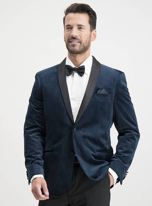Navy Velvet Tailored Fit Tuxedo Jacket - 46S