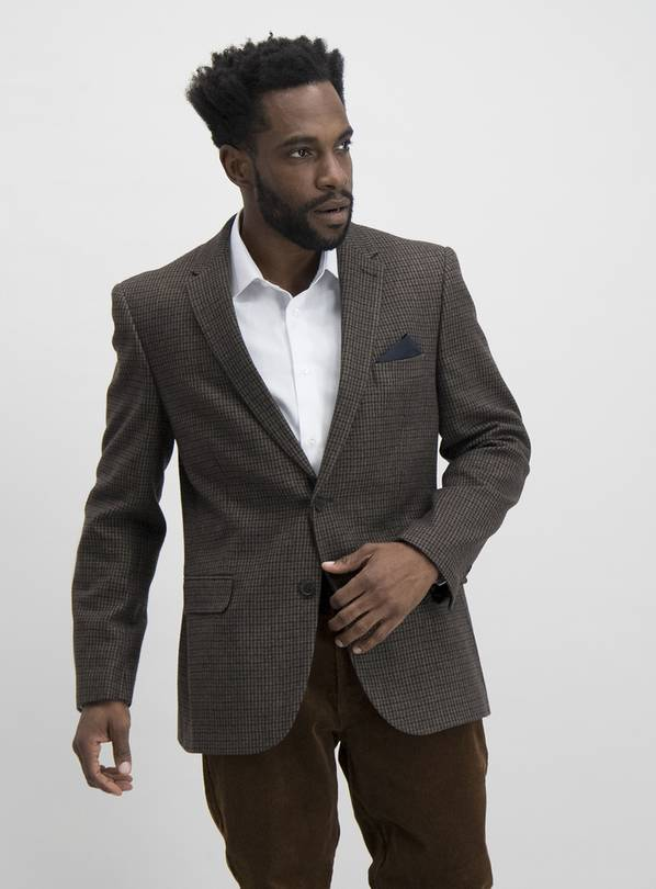 Brown Dogtooth Check Tailored Fit Jacket - 48S
