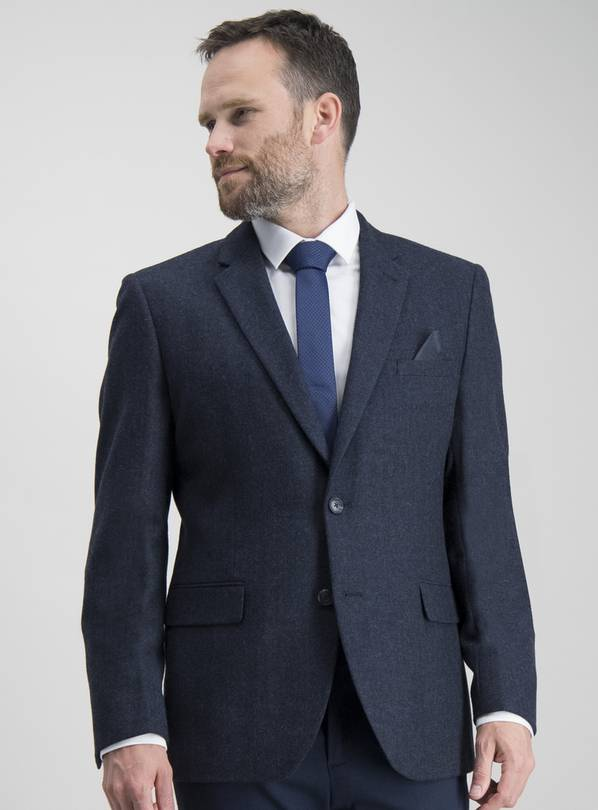 Navy Herringbone Tailored Fit Wool Blend Jacket - 46S