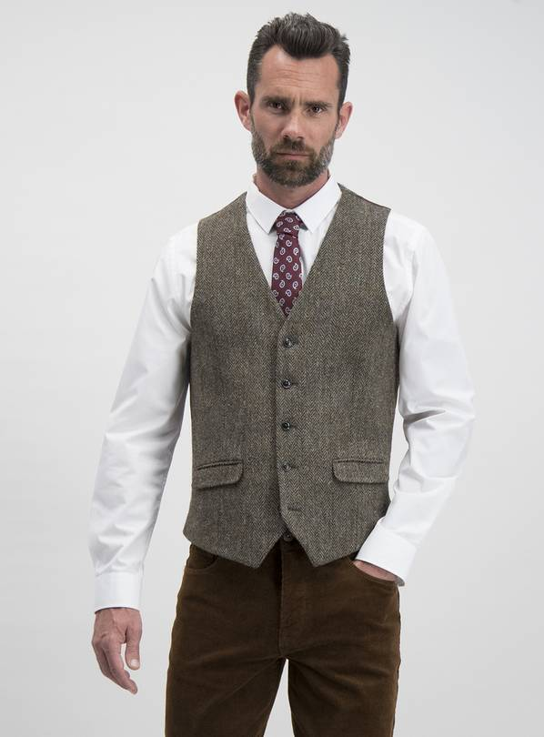 HARRIS TWEED Brown Check Waistcoat - 48S