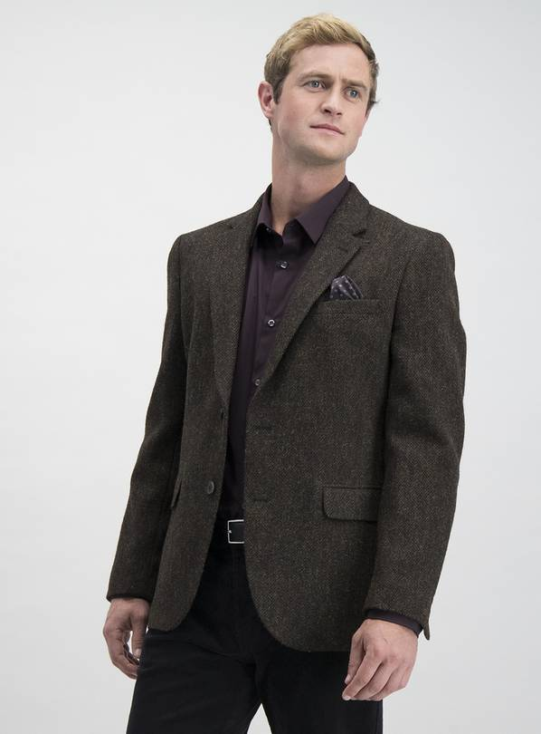 HARRIS TWEED Brown Multi Textured Tailored Fit Jacket - 50R