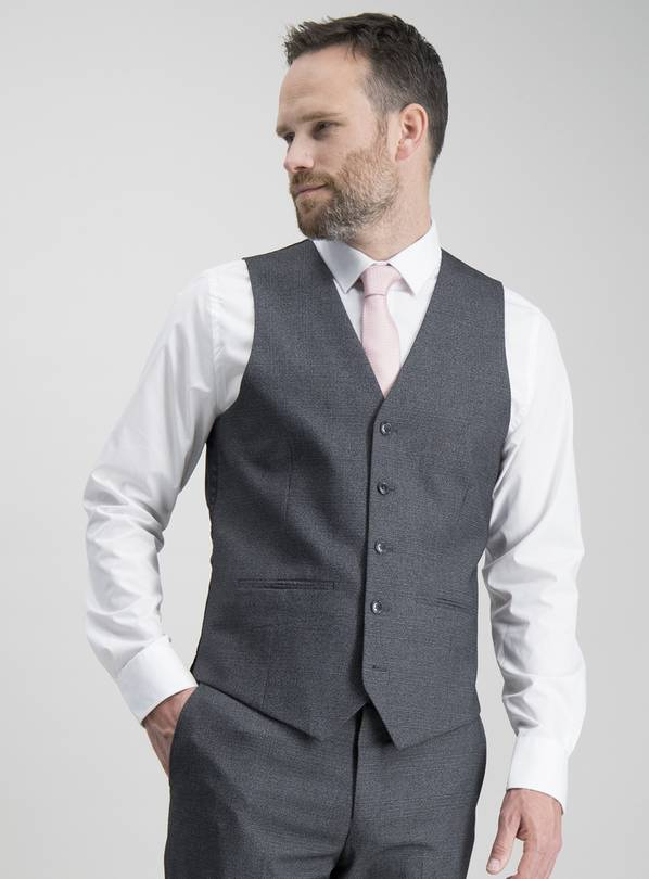 Charcoal Prince Of Wales Check Slim Fit Waistcoat - 52R