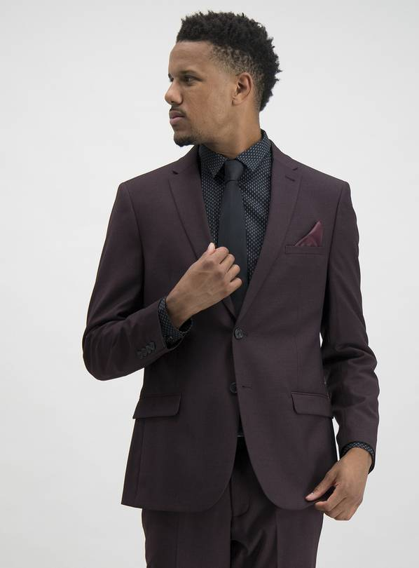Burgundy Slim Fit Suit Jacket - 38R