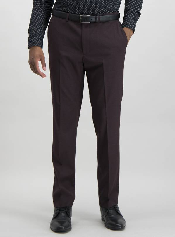 Burgundy Slim Suit Trousers With Stretch - W42 L29