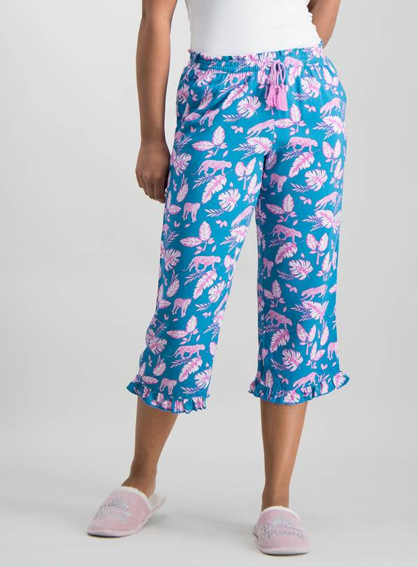 Teal & Pink Leopard Palm Wide Leg Cropped Pyjama Bottoms - 8