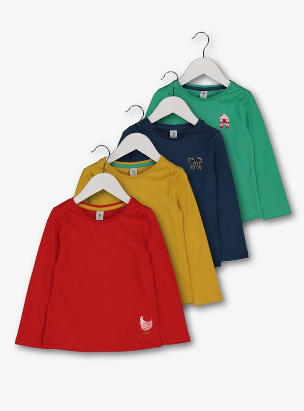 b545c7b451 Buy Multicoloured Farm Animal Long Sleeve T-Shirt 4 Pack - 6-7 y   Tops and  t-shirts   Argos