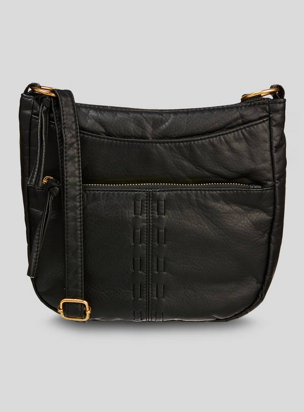 Black Washed Cross Body Bag - One Size