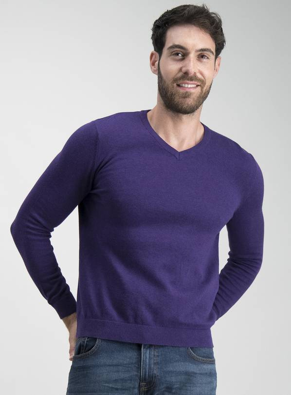 Purple V-Neck Jumper - XXXL