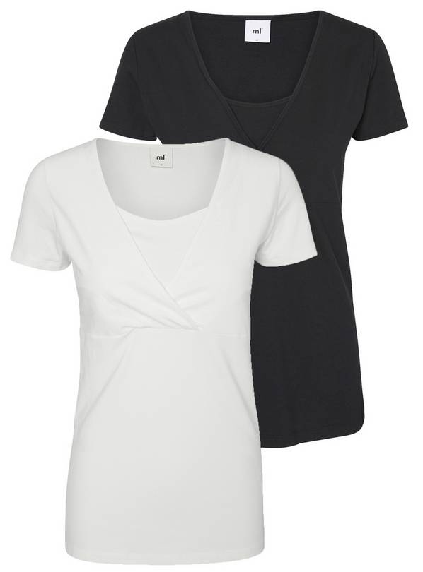 Nursing White & Black Nursing Tops 2 Pack - L