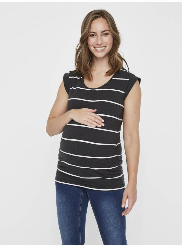 Maternity Black & White Striped Top - M