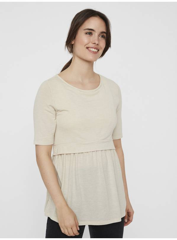 Nursing Oatmeal Jersey Top - L