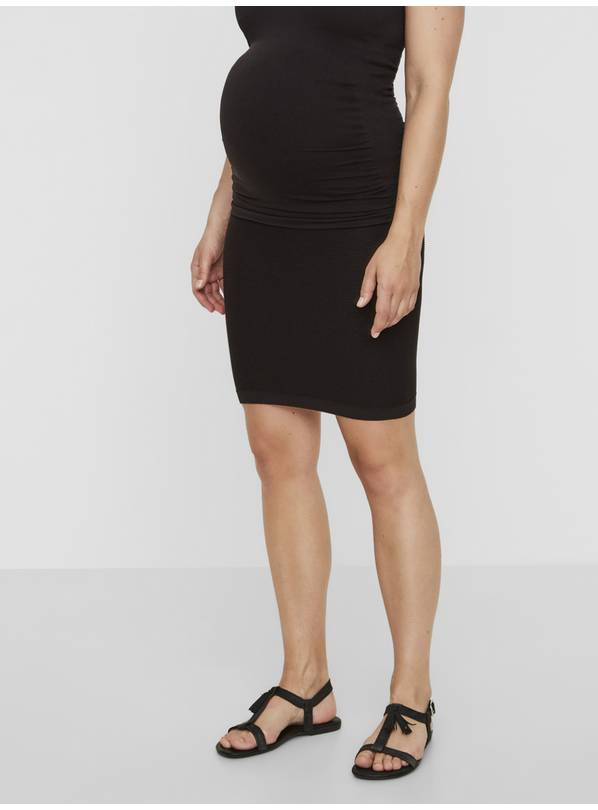 Maternity Black Ribbed Skirt - S/M