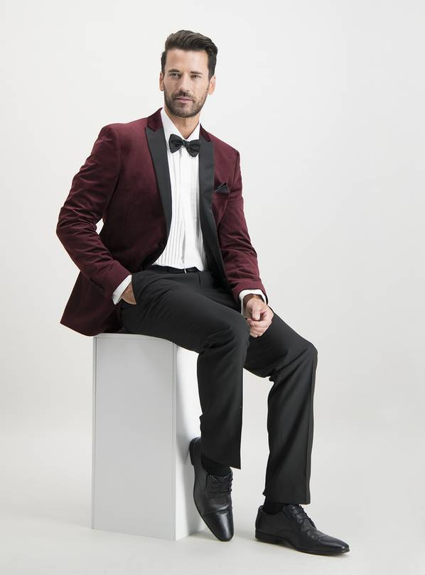 Dark Red Velvet Slim Fit Tuxedo Jacket - 46L