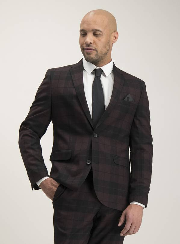 Burgundy & Black Check Plaid Slim Fit Suit Jacket - 42S