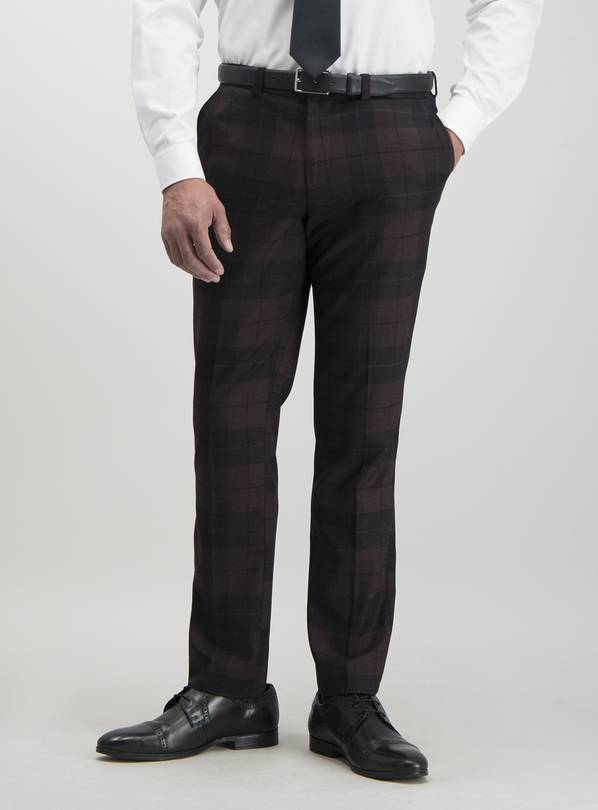 Burgundy & Black Plaid Slim Fit Suit Trousers - W34 L29