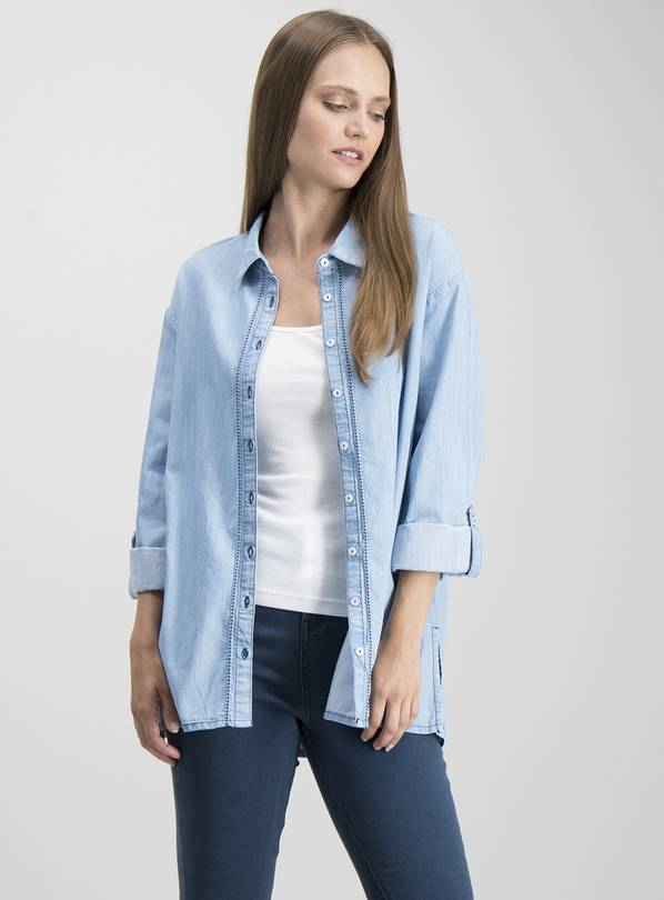 Light Blue Denim Long Line Shirt - 26