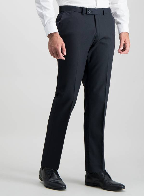 Navy Tailored Fit Active Waistband Suit Trousers - W32 L31