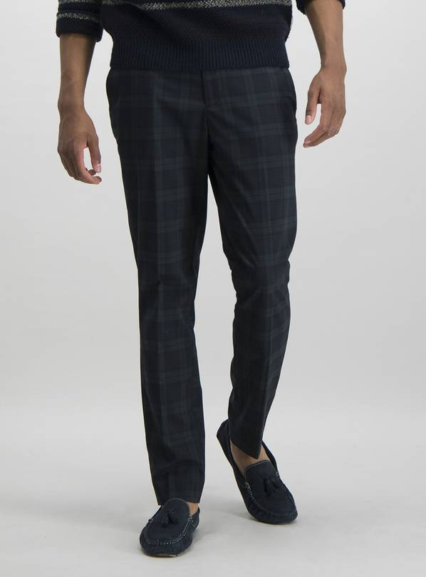 Dark Green Tartan Slim Fit Trousers With Stretch - W40 L31