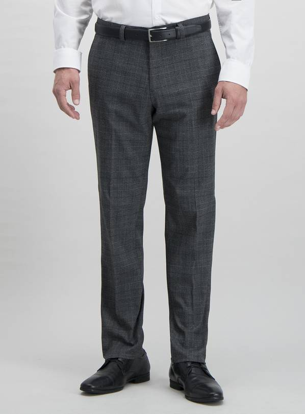 Grey Prince of Wales Check Tailored Fit Trousers With Stretc