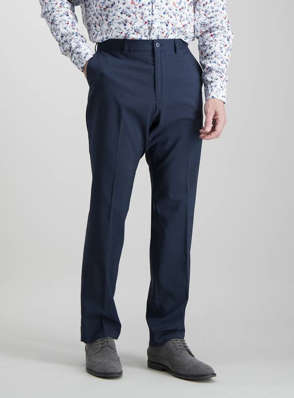 Navy Grid Tailored Fit Trousers With Stretch - W44 L29