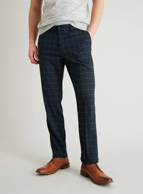 Navy Grid Check Slim Fit Trousers With Stretch - W44 L33