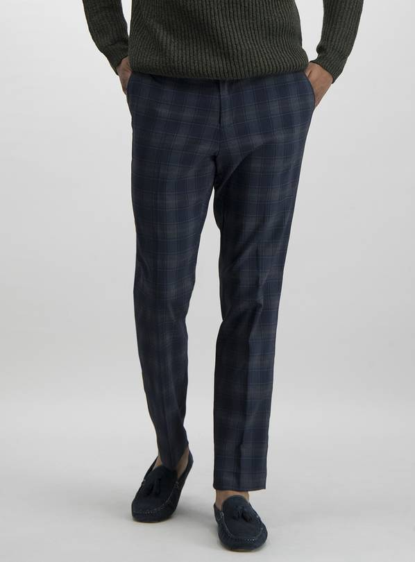 Navy Tartan Check Slim Fit Trousers With Stretch - W32 L31