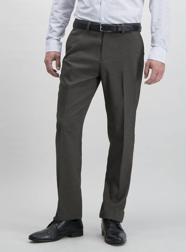 Brown Textured Tailored Fit Trousers With Stretch - W38 L31