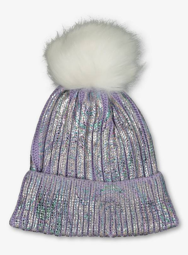 Lilac Knitted Beanie Hat - 10-13 years