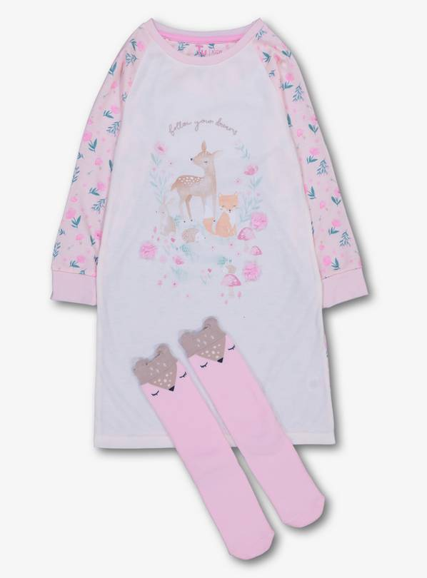 Multicoloured Woodland Nightie With Socks - 5-6 years