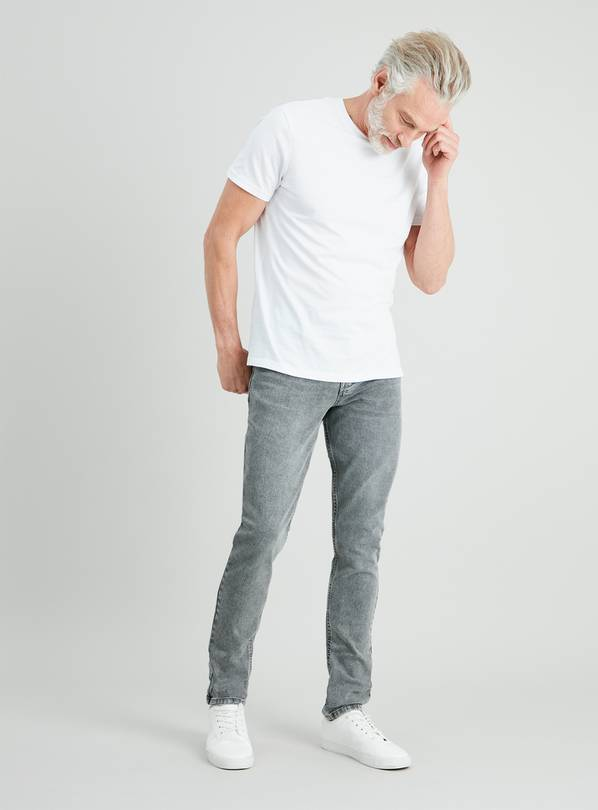 Light Grey Textured Wash Skinny Denim Jeans With Stretch - W