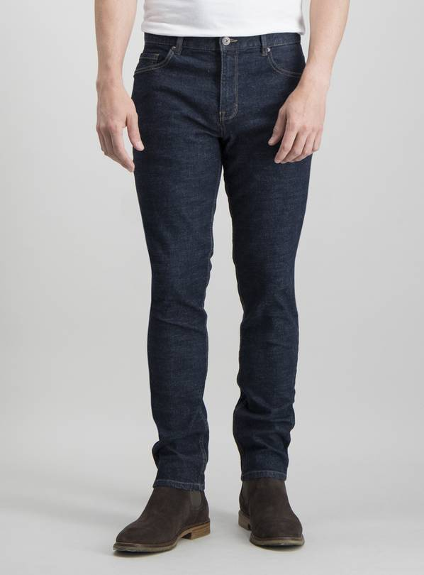 Dark Rinse Wash Denim Skinny Fit Jeans - W40 L30