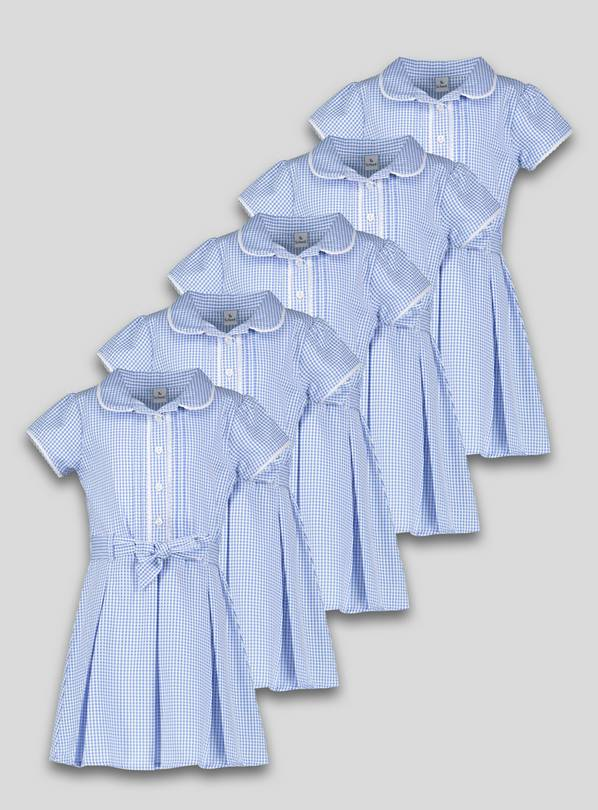 Online Exclusive Blue Gingham Dress 5 Pack - 12 years