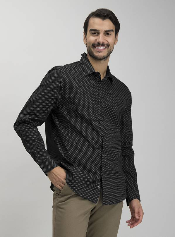 Black Geo Print Regular Fit Shirt - S