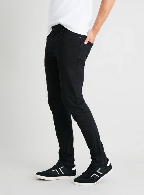Black Super Skinny Denim Jeans With Stretch - W36 L32