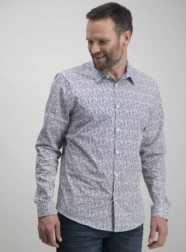 White Ditsy Floral Print Regular Fit Shirt - XXL