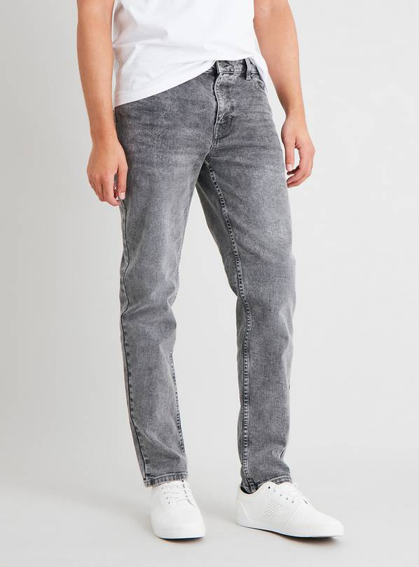 Grey Wash Slim Fit Jeans With Stretch - W36 L32