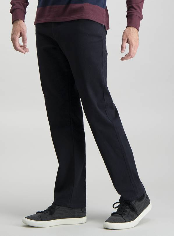 Dark Navy Twill Straight Leg Jeans With Stretch - W34 L32